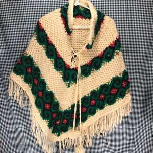 Vintage Hand Knitted Shawl Adult Size